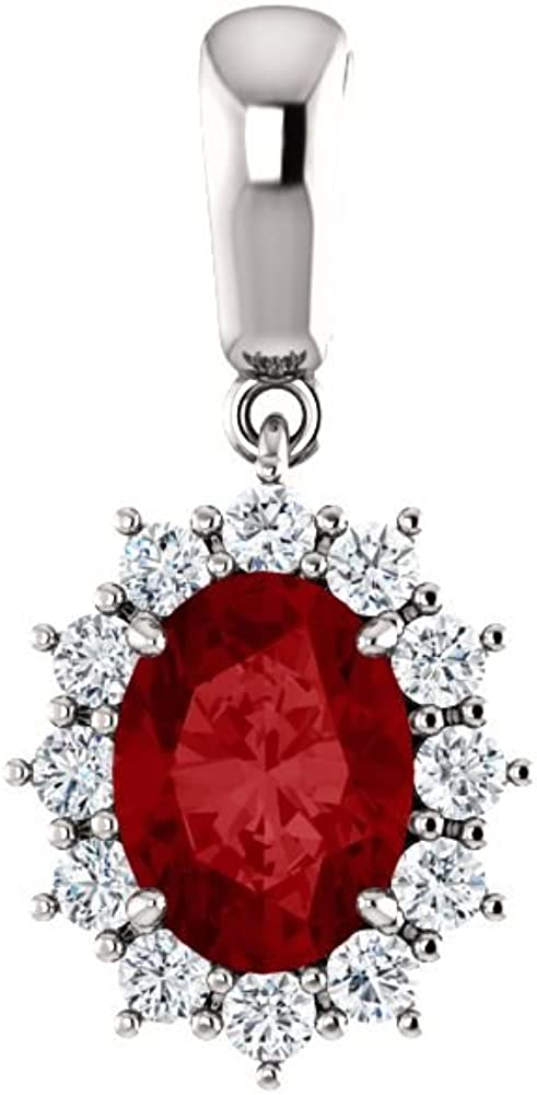 14K White Elegant Gold Max 45% OFF Chathamâ Created Ruby 1 Diamond 3 Pendant Ctw