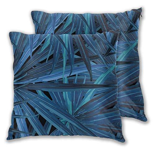 AEMAPE Quadratische Kissenbezüge, Blaue Bambusblätter 2er Pack dekorative Kissenbezüge Kissenbezüge für Schlafsofa Schlafzimmer Auto 40X40 cm