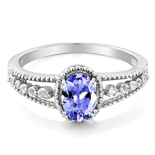 Gem Stone King 925 Sterling Silver Tanzanite and White Topaz Women's Engagement Ring (1.00 Cttw Oval Gemstone Birthstone) (Size 9)