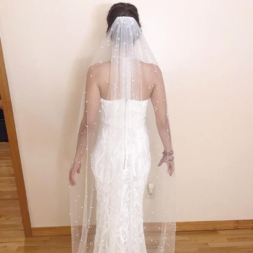 HUIJK Veil 2 Meters Long In a popularity Pearls Comb with One Layer Super Special SALE held Wedding