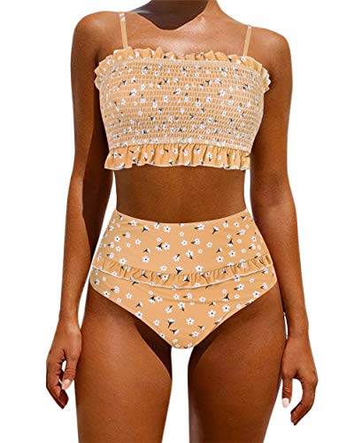OMKAGI Women's Bandeau Bikini Sets Cute Shirred Swimsuit High Waisted Bathing Suit(L,Orange Floral)