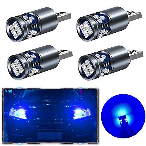 Teguangmei 4x T10 W5W Canbus LED sin Error Ultra-Alto Brillo 6000K Azul 2016-18SMD T10 Cuña 168 194 Bombillas para Luz de Interior de Coche Luces de Lectura Luces de Techo Luces de Matrícula 12V