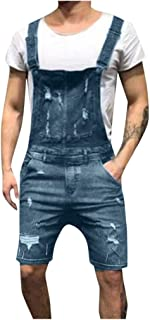 HaiDean Short Men's Jeans Dungarees Hole Short Modern Casual Denim Dungaree Overalls Summer Leisure Jumpsuit Men's Fashion...