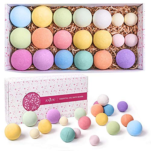 Anjou Bath Bombs Gift Set, 20 Pack Natural Essential Oils Spa Bath Fizzies for Moisturizing Dry Skin, Gift Kit Ideas for Girlfriends, Women, Moms, Her/Him, Birthday, Valentine, Christmas