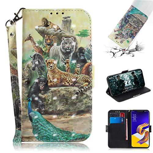 Asus Zenfone 5 2018 Hülle, SATURCASE 3D PU Lederhülle Ledertasche Magnetverschluss Brieftasche Standfunktion Handy Schutzhülle Handyhülle Hülle für Asus Zenfone 5 ZE620KL/Zenfone 5z ZS620KL (TD-12)