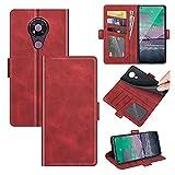 AKC Funda Compatible para Nokia 3.4 Carcasa Caja Case con Flip Folio Funda Cuero Premium Cover Libro Cartera Magnético Caso Tarjetero y Suporte-Rojo
