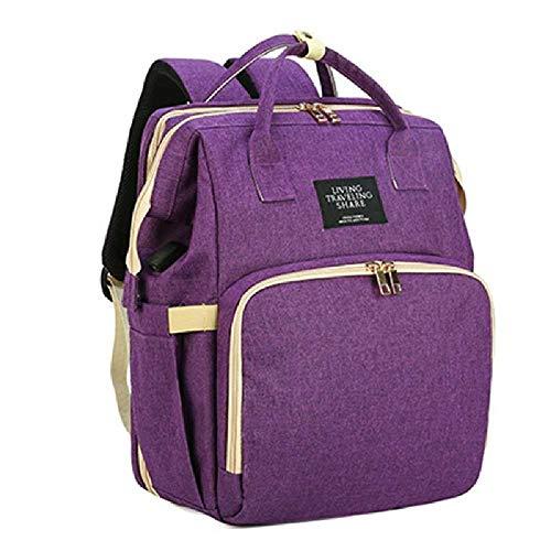 Mommy Bag Cama Plegable USB Baby Bag Mochila Multifuncional Baby Bed Pañal Bag