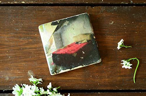 rotes Bett Untersetzer aus Travertin Stein Fliese türkis, handmade coaster