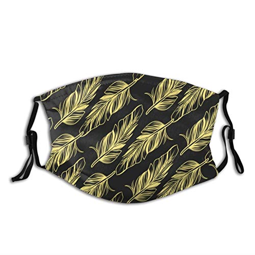 Mei-ltd Feather Pattern Face Ma_sk Washable Reusable Adult Face Cover with Adjustable Nose Wire and Ear Loops