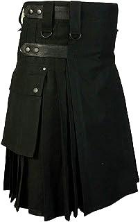 Yying Hombres Negro Caqui Marrón Faldas Algodón Kilt Utilitario Moda Deportiva Kilt Faldas Ajustables de Cuero Correas