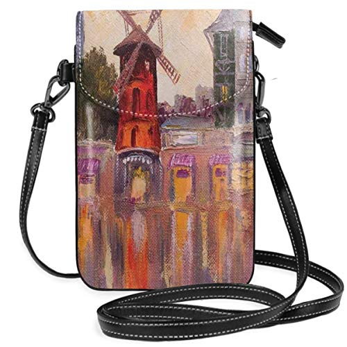 Jiger Women Small Cell Phone Purse Crossbody,Painting Of Moulin Rouge In Paris City Centre Of Love Vintage France...