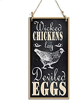 Wicked Chicken Lay Deviled Eggs Sign Perfect For Wall Decoration Black (10