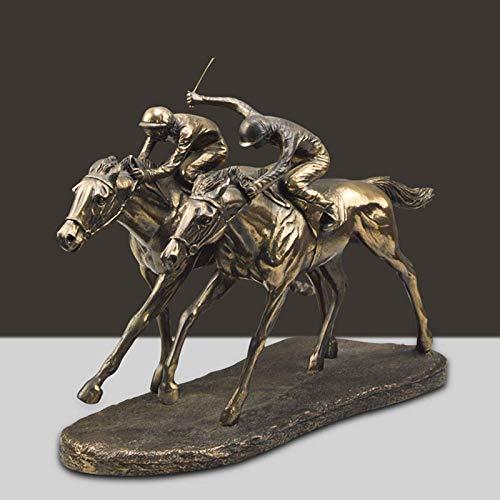 Bronze Doppel Pferd hochwertigen Ornamente Statue, Kreative Guss Kupfer Hauptdekorationen, Büro Wohnzimmer Harz Deko Statue Pferd(Farbe: Bronze) (A)
