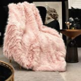 Pink Faux Fur Throw Blanket, Luxury Modern Blush Home Throw Blanket, Super Warm, Fuzzy, Elegant, Fluffy Thick Heavy Decoration Blanket Scarf for Sofa, Couch and Bed, 50''x 60''