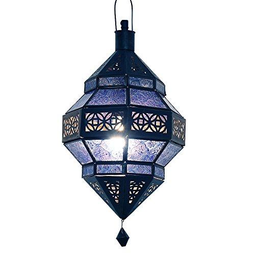 albena Marokko Galerie 13-157 Trob lámpara oriental estilo marroquí 30 cm cristal azul