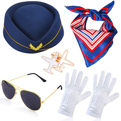 Beelittle Women's Stewardess Costume Accessories Flight Attendant Hat with Air Hostess Cosplay Costume Accessories (Navy1)