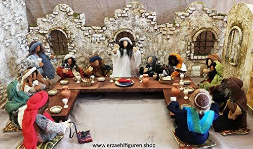 Abendmahltisch für Erzählfiguren und Egli-Figur komplett gedeckt für 13 Personen + Gedeck und Sitzkissen