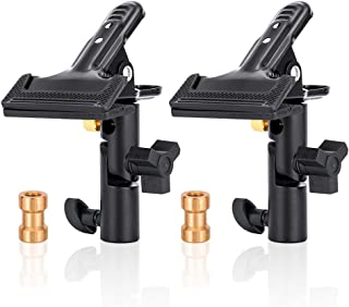 UTEBIT 2 Pack Collapsible Reflector Holder 180 Rotation Heavy Duty Clamp Holder Heavy Duty Flash Umbrella Bracket with 1/4 to 3/8 Screw Adapter for Backdrop Photography, Light Stand, Tripod