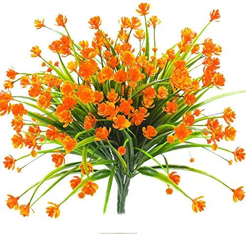 Ruiuzioong Flores Artificiales Falsas, 4 Unidades para Exteriores, Resistentes a los Rayos UV, Plantas para Colgar en Interiores y Exteriores, decoración para el hogar, jardín (Naranja, 4 Piezas)