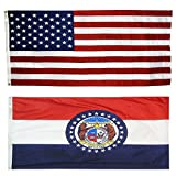 US Flag with Missouri State Flag 3 x 5-100% American Made - Nylon