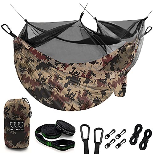 Gold Armour Camping Hammock with Mosquito Bug Net - Double Parachute Lightweight Nylon Hammocks with Tree Straps Adult Kids Premium Camping Equipment Gear and Accessories (Camouflage, Double)