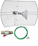 RFBoost Parabolic Wide-Band Cellular Antenna (Long Range) High Gain Parabolic Grid (Weatherproof) Outdoor Cell Booster 26 dBi Gain T-Mobile, Verizon, AT&T, LTE, 4G, 5G, 5Ge, GSM W/Surge & Grounding