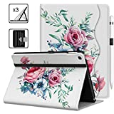 VORI Case for iPad 10.2 Inch (2020/2019 Model, 8th / 7th Generation), Premium PU Leather Stand Smart Cover with Auto Wake/Sleep, Pocket and Hand Strap for iPad 10.2 '', Peony