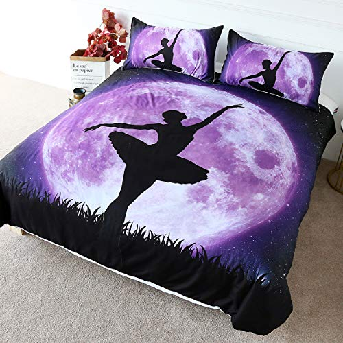 BlessLiving Home Fashion Ballerina Dance Bedding Nature Full Moon Duvet Cover Purple Galaxy Bedspread for Kids Girls (Single)
