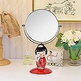 JXXDDQ Escritorio de Maquillaje Espejo Doble - Moda portátil de Resina Muñeca Kimono Cara Vestir Princesa Espejo (Color: Rojo)-Rojo