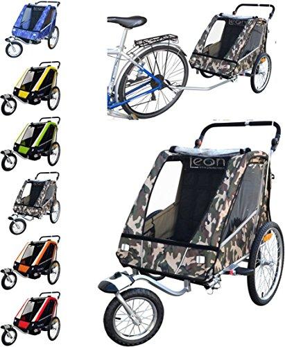 PAPILIOSHOP LEON Rimorchio passeggino carrellino per il trasporto di 1 o 2 uno due bambino bambini con la bici ruota anteriore piroettante bicicletta portabimbo bimbo bimbi portabimbi carrello pieghevole carrozzina da con x porta (New Mimetico)