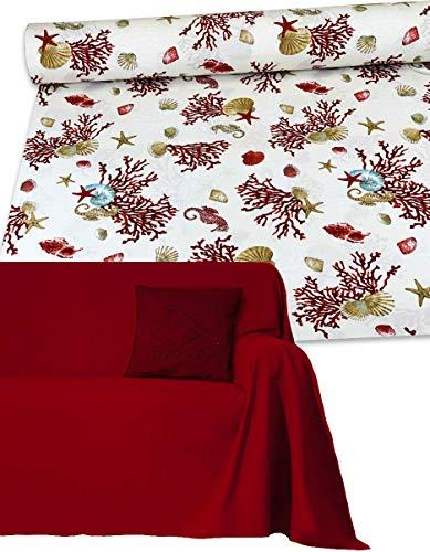 Byour3 ️ Funda de sofá de 3, 4 y 5 plazas de algodón con estampado de granfoulard - Funda para sofá de esquina con chaise longue derecha izquierda (corales rojos, 4 plazas 400 x 275 cm)