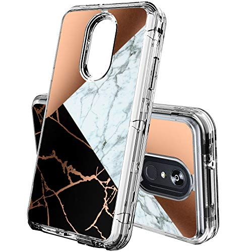 ACKETBOX LG Stylo 4 Case,Hybrid Impact Defender Shockproof Clear Marbe Design Three Layer Full-Body Protective PC Back Case+Bumper and TPU Cover for LG Stylo 4(Marble-01)