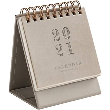 Beige Mini Desk Calendar 2020-2021 Cute Standing Flip Calendar Daily Scheduler Table Planner Agenda Organizer for Home Office School
