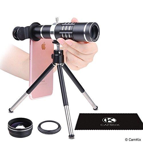 Kit Lenti Universale 3in1 con Teleobbiettivo 18x + Macro + Grandangolo - Fotografia Mobile Fenomenale per Apple iPhone, Samsung Galaxy, ecc. – Clip Blocco Lenti -Treppiede Regolabile
