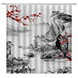 Jingjiji Asian Decor Shower Curtain Red Plum Blossom Branch Colorful Bloom Misty Mountains Oriental Art Chinese Traditional Ink Landscape Artwork Bathroom Decoration Polyester Fabric with Hook 70 X 70