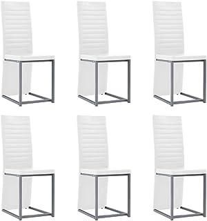 vidaXL 6X Sillas de Comedor Piel Sintética Blancas 38.5x52x100.5cm Mobiliario