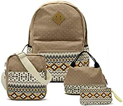RayOm Canvas Backpack for Teen Girls Middle School - Separate Laptop Compartment