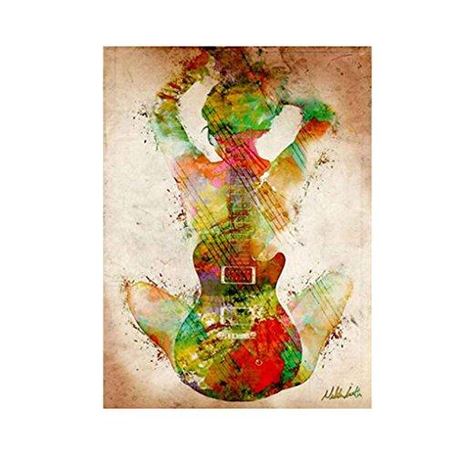nobrand Aquarell-Gitarren-Mädchen Ansicht der Back-Muster gedruckt Unframed Leinwand Ölgemälde Fall-Wand-Dekoration,As The Picture Shows,30 * 40cm, 45 * 60cm