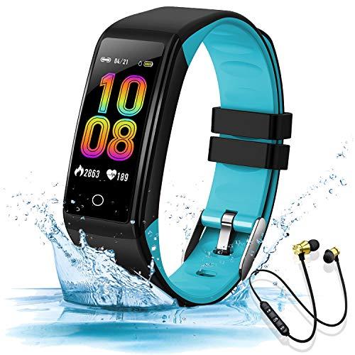 Reloj inteligente de pulsera de fitness IP67, resistente al agua, reloj deportivo para mujer, pantalla táctil completa, con monitor de frecuencia cardíaca, monitor de sueño, reloj inteligente