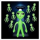 Relaxdays 10 x aufblasbares Alien, Marsmännchen Figur, Sci-Fi Party Deko, Karneval,...