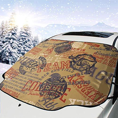 College Leichtathletik Abzeichen Schmutz Patchwork Muster Auto Frontscheiben Schneedecke Schnee und EIS Schutz Im Winter für Automobil Fahrzeug Minivan 58×46.5 Zoll
