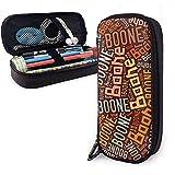 Boone - Apellido americano Estuche de lápices de cuero de gran capacidad Bolígrafo Papelería Organizador Titular Bolígrafo de maquillaje universitario Bolso de viaje de viaje