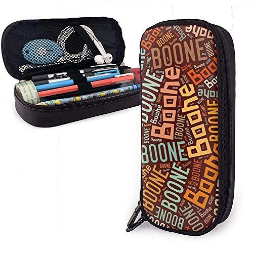 Boone - American Nachname Große Kapazität Leder Federmäppchen Stift Schreibwaren Halter Veranstalter College Make-up Stift Sachen Reise Tragetasche