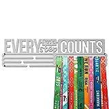 United Medals Every Little Step Counts Medalla Percha | Acero Cepillado (43cm / 48 Medallas) Soporte para Medallas Deportivas