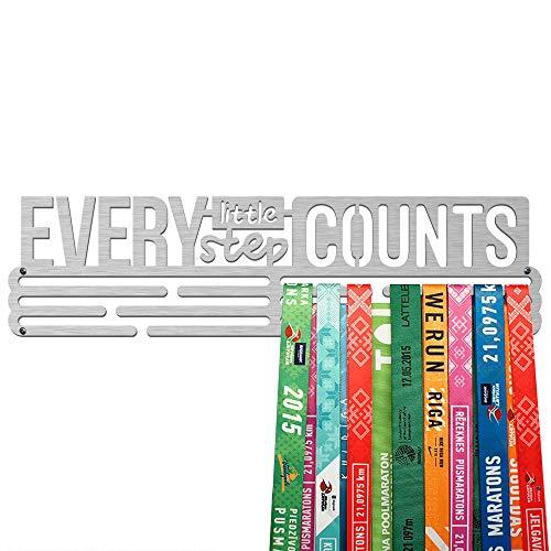 United Medals Every Little Step Counts Medalla Percha   Acero Cepillado (43cm   48 Medallas) Soporte para Medallas Deportivas