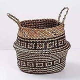 Waymeduo Seagrass cesta de cesteria de mimbre plegable colgante maceta de flores maceta sucia de lavanderia cesto de almacenamiento cesta decoracion para el hogar