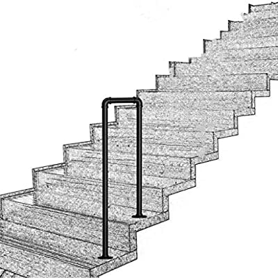 Household Products U-Shaped 2-Step Handrail Exterior Support Bar, Non-Slip Black Stair Rail Wrought Iron Railing,Elderly Children's Safety Support Bar Hand Rails for Indoor and Outdoor Steps