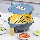 Shredder 9 herramienta de la cocina en 1 rallador de la máquina de cortar Chopper portátiles Cortador de verduras con drenaje cesta de gran capacidad mágica Girar para la limpieza del hogar