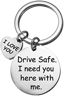 Drive Safe I Need You Here with Me Keychain Boyfriend Girlfriend Christmas Gifts I Love You Keyring Wife Husband Anniversary Valentines Day Birthday Gifts
