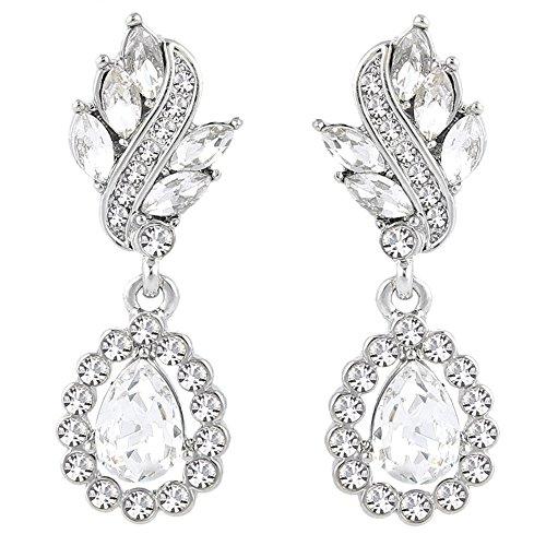 EleQueen Women's Austrian Crystal Art Deco Tear Drop Dangle Earrings Clip-on Silver-tone Clear